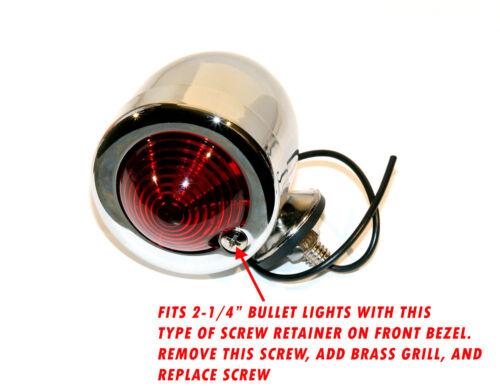 """SOLID BRASS FINNED GRILL FOR HARLEY 2-1//4/""""BULLET LIGHT BOBBER CHOPPER HOTROD 1EA"""