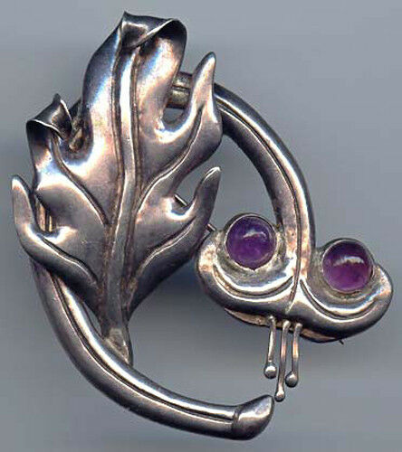 VINTAGE SNAKE LIKE MEXICO STERLING SILVER & AMETHYST CABOCHON LEAF PIN BROOCH