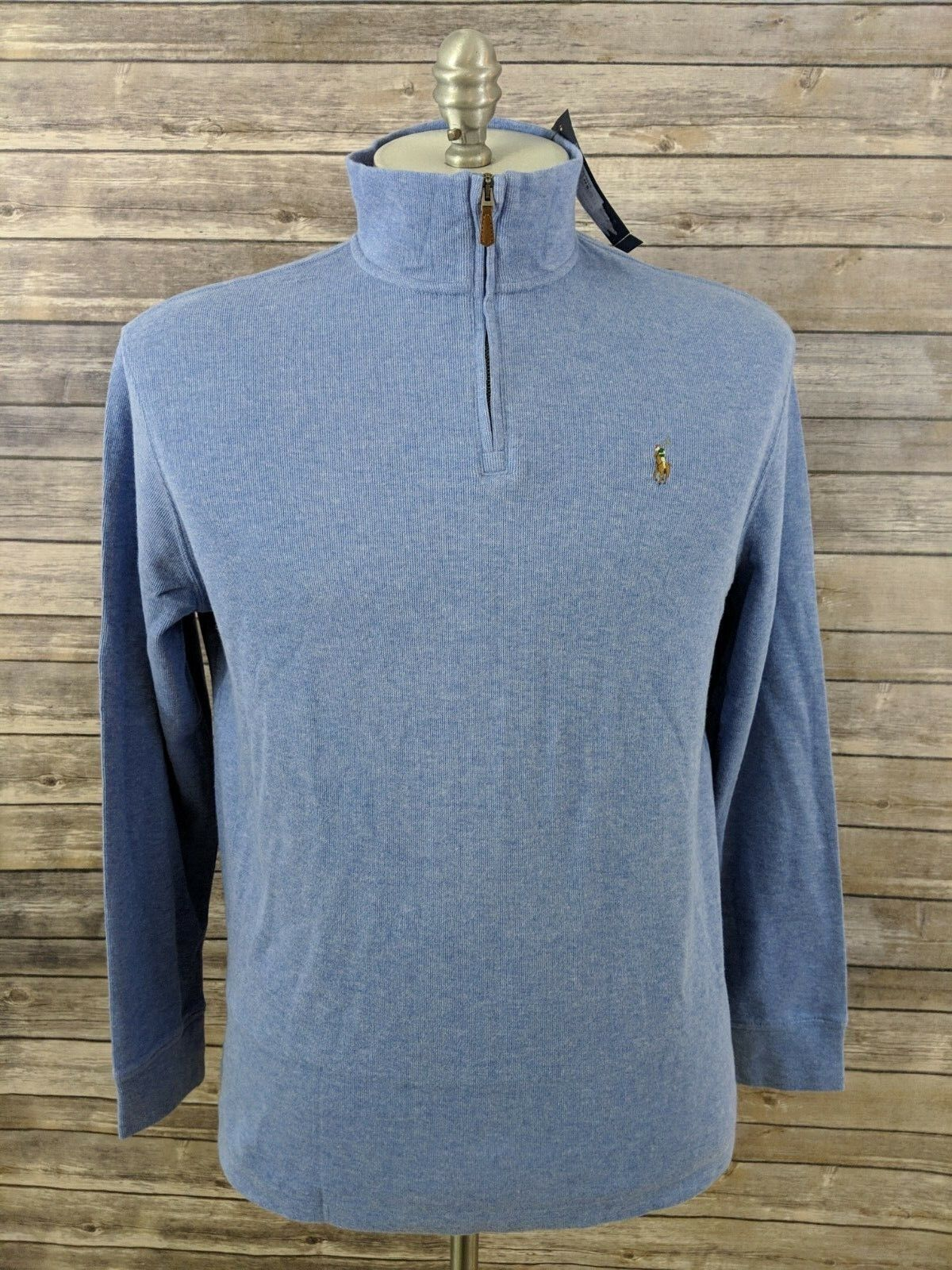 New Polo Ralph Lauren Estate Rib Mens Sweater 1 2 Zip bluee Size Large MSRP