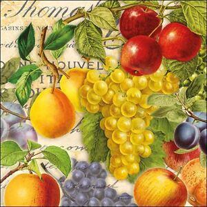 20-Servietten-034-Autumn-Fruit-034-33x33-Napkins-Herbst-Obst-Weintrauben-Apfel-Schrift