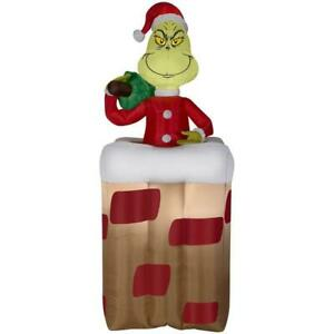 Christmas Decor Airblown 6 Ft Inflatable Animated Grinch Popping Out Of Chimney