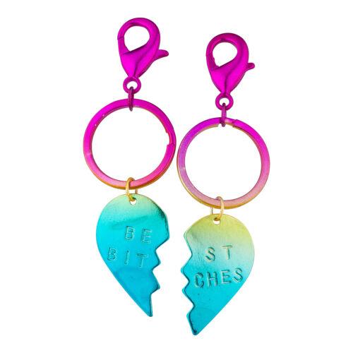 Lux Accessories Rainbow Heart Pieces Best BitchesTwo Pieces Fashion Keychain