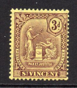 St Vincent 3d Stamp c1909-11 Mounted Mint (6734)