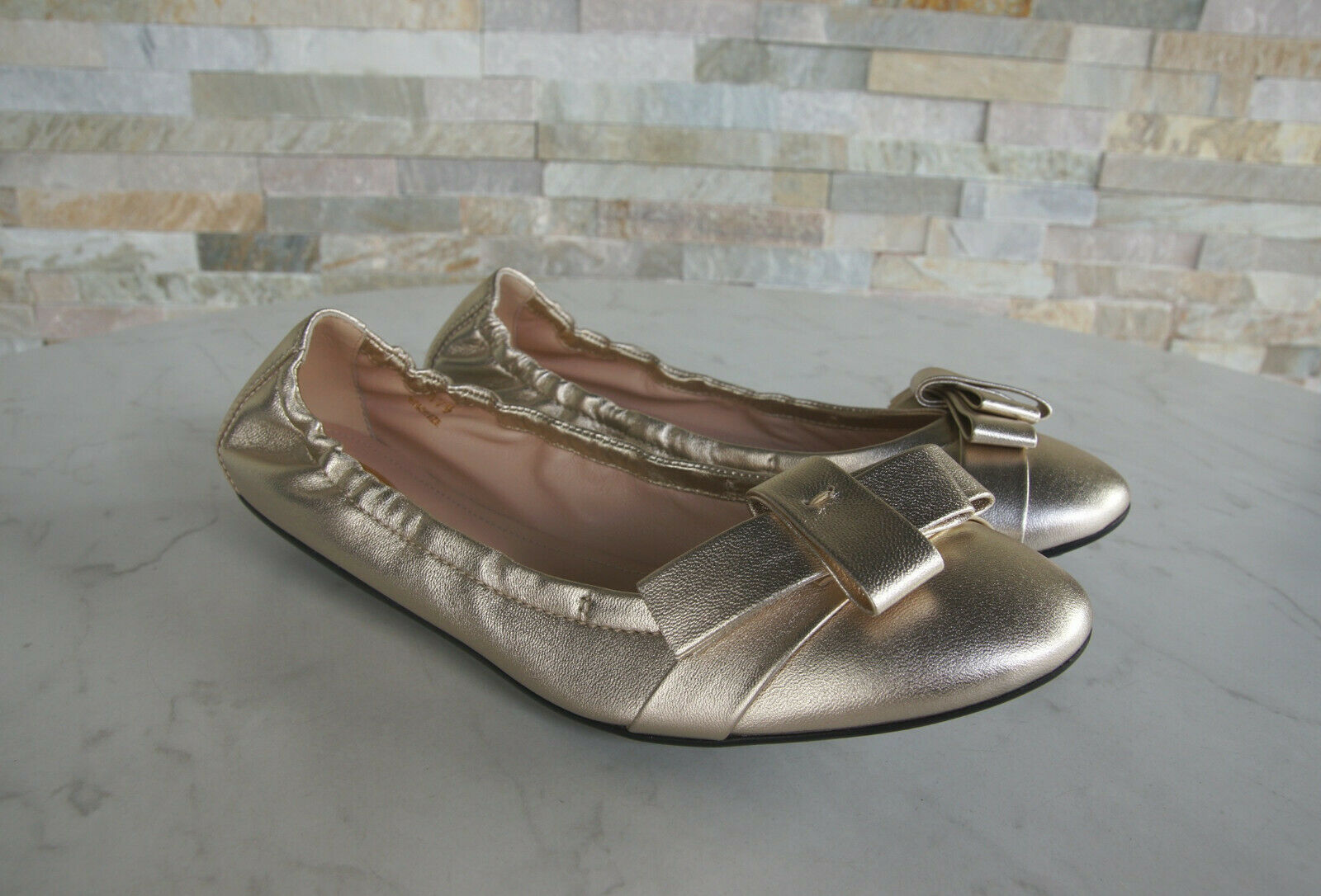 Tods Morte ´ S S S Gr 37,5 Ballerine Leggere shoes Basse gold Brillante Origin. 8a877a