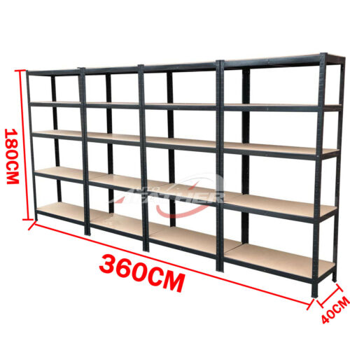 Racking Storage Shelving Heavy Duty Garage 5 Tier Metal Shelves Warehouse Black