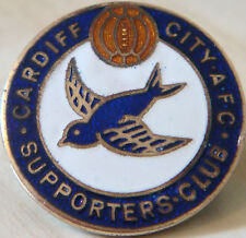 CARDIFF CITY AFC Very rare vintage SUPPORTERS CLUB Badge Brooch pin 26mm x 26mm