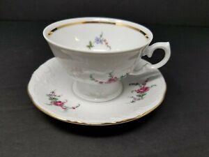 Wawel-Sheraton-Rose-Teacup-and-Saucer-Poland-Porcelain-Embossed-Floral-Excellent