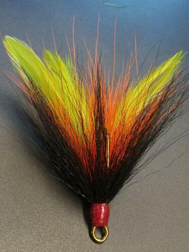 Gr Or Black 2 pack 5//0 Mustad Dressed Musky Pike Bucktail Teaser Treble Hooks