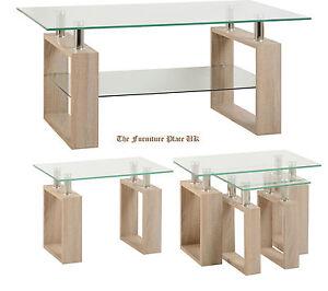 Milan-Coffee-Lamp-or-Nest-Of-Tables-in-Oak-Effect-Veneer-Clear-Glass-Silver