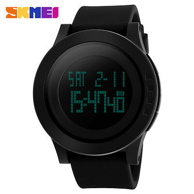 Fashion Digital Watch Men Black Rubber Band Date Alarm Backlight Sports Watches