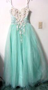 MAC DUGGAL S Prom Pageant Dress Seafoam Green BALLGOWN Corset Formal Quinceanera