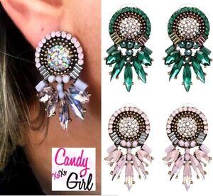 Large Crystal Diamante Bohemian Sparkling Statement Stud Earrings