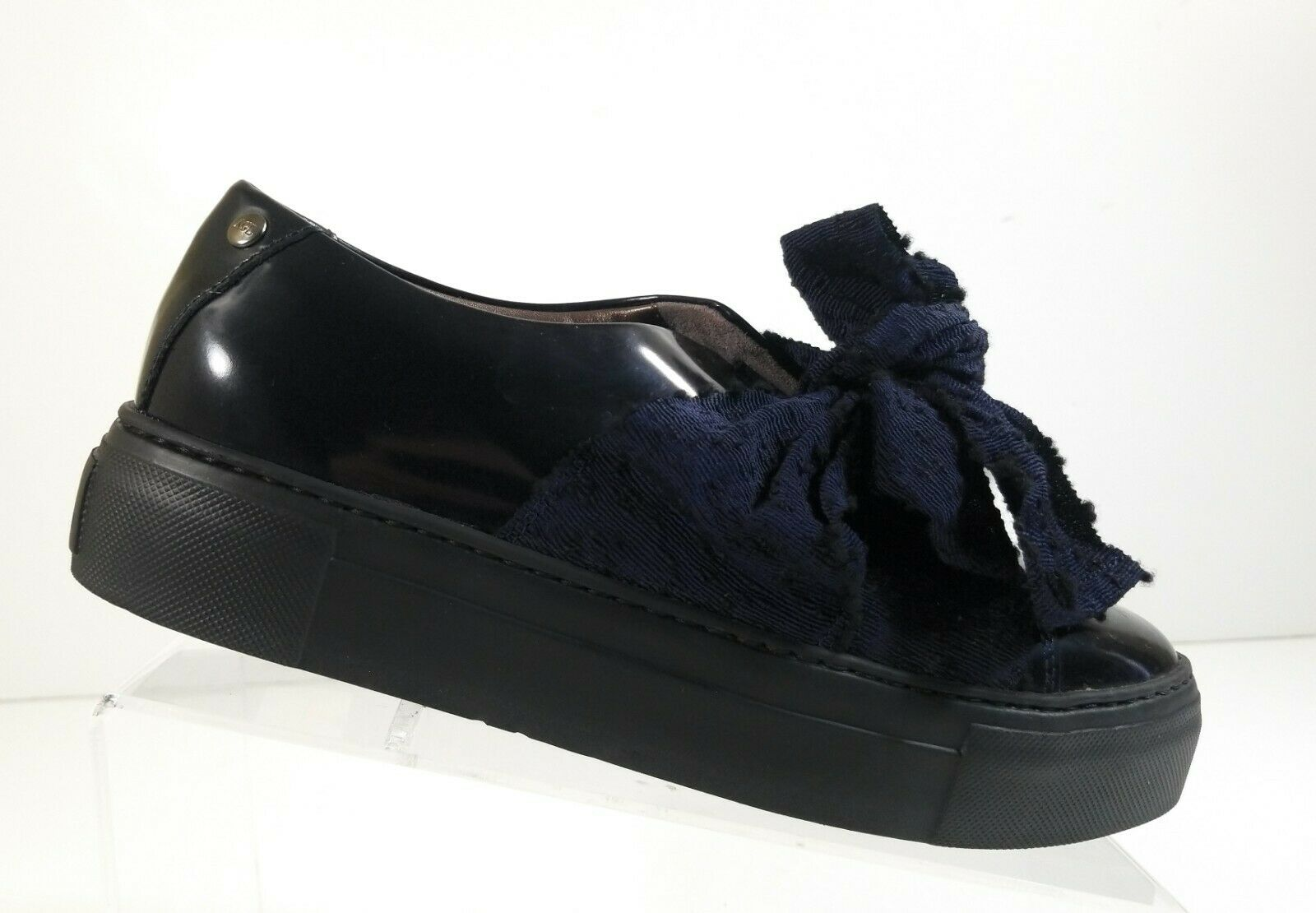 New AGL damen Blau Lace Up Fashion Patent Leather Platform Bow Turnschuhe Sz 38.5