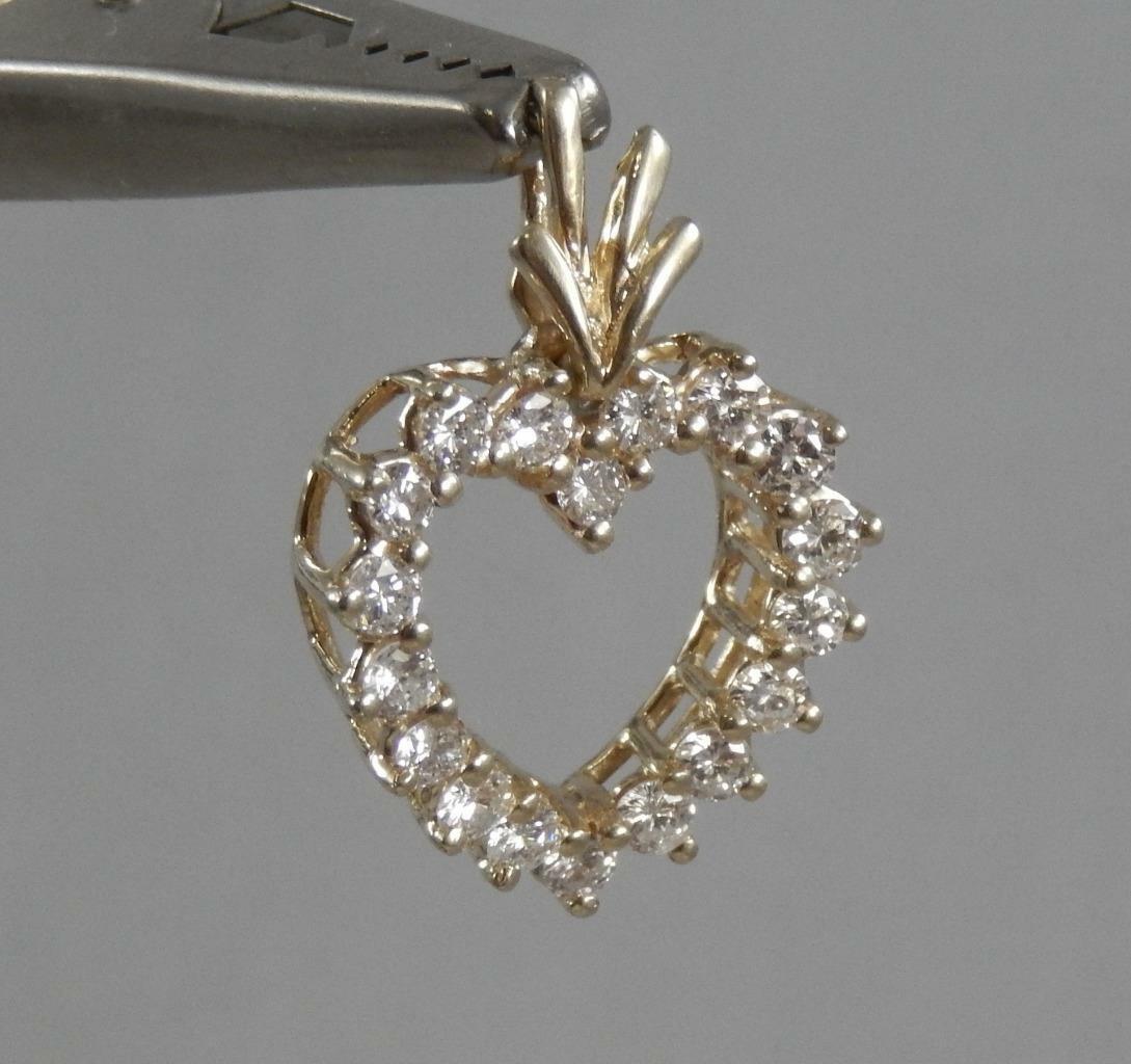 Estate 14 Karat Yellow gold 1Ct Diamond Heart Pendant 14K J1467