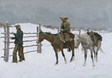 The Fall of the Cowboy Frederic Remington Pferd Gatter Winter Idianer B A3 01931