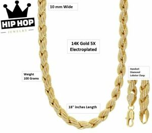 Iced-Simulated-Diamond-14K-GP-Gold-10mm-18-034-French-Solid-Rope-Necklace-Chain
