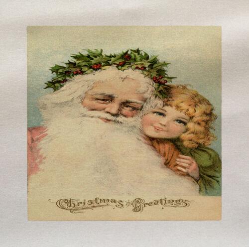 Vintage Santa Printed On Fabric Panel Make A Cushion Upholstery Craft
