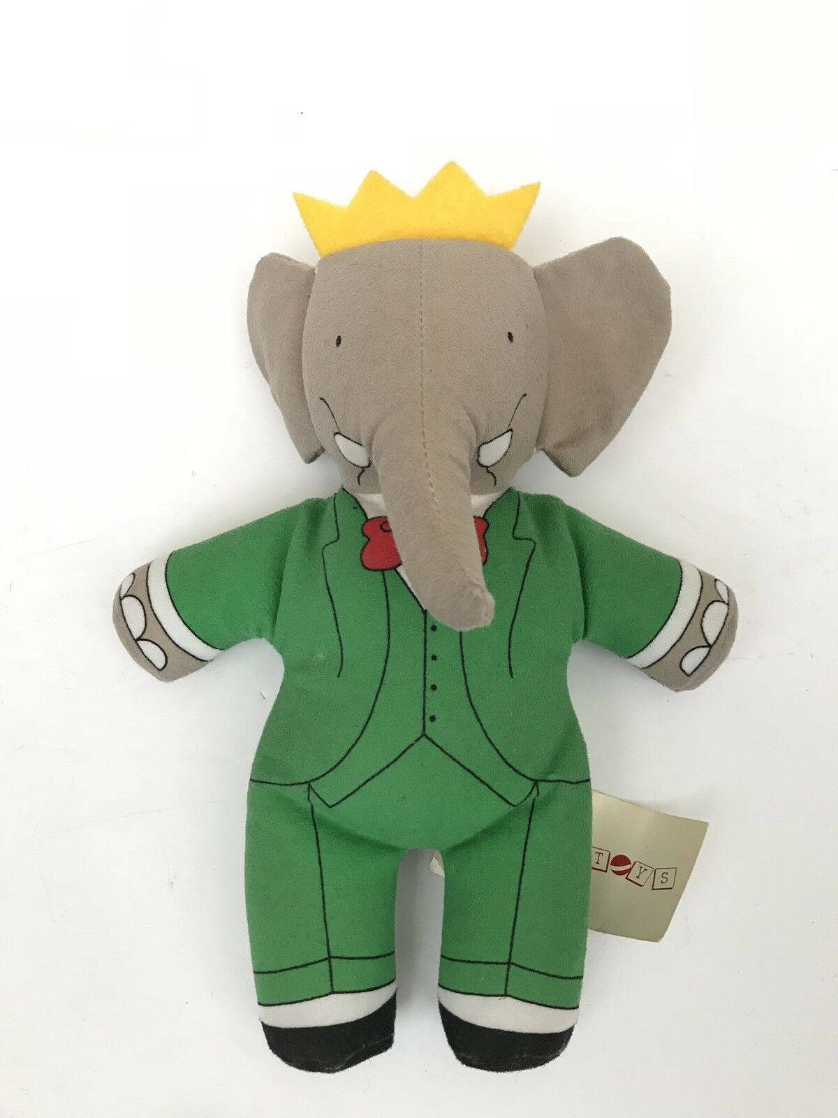 Babar King Elephant Bean Bag Plush 1989 Toy Works Usa W Plush Tag