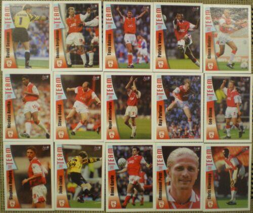 Tarjetas De Fútbol Arsenal los ventiladores selección 1997//98 Camiseta Futera TRADING CARDS X 15