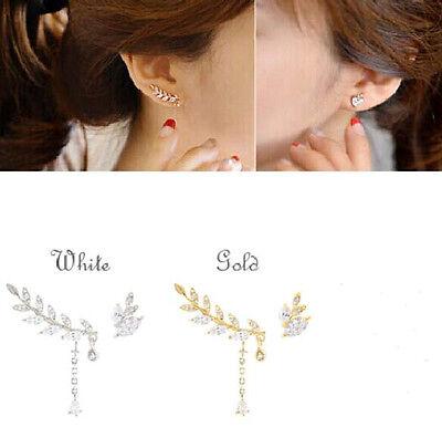 Fashion Charm Asymmetry Leaf Rhinestone Drop Cuff Ear Clip Earring No Ear Hole