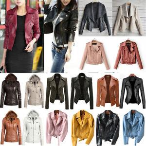 Women-039-s-Lapel-PU-Leather-Jacket-Coat-Zip-Biker-Short-Punk-Cropped-Tops-Fashion