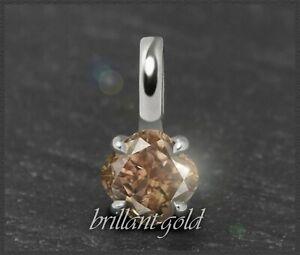 Diamant-585-Gold-Damen-Anhaenger-mit-0-42-ct-Cognac-Champagner-VS-Gleiter-NEU