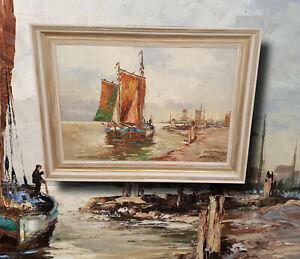 Hollaendische-Kuestenlandschaft-Fischerboote-Original-altes-Olgemaelde-signiert