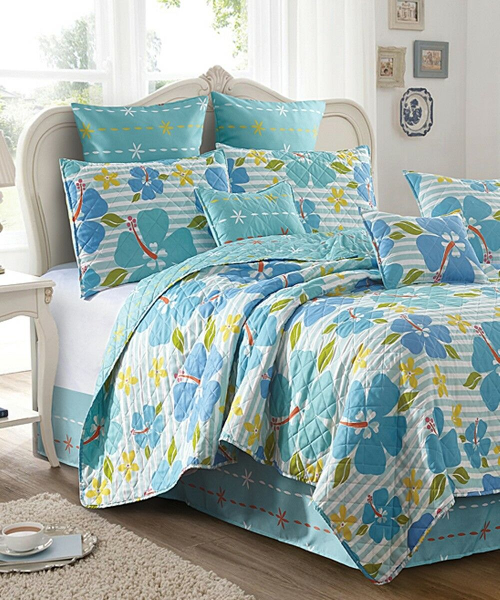 Hawaiian Tropical Hibiscus Floral Beach Stripe Full   Queen King Size Quilt Set