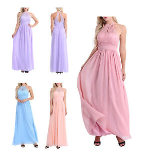 Fashion-Women-Chiffon-Halter-Lace-Dresses-Evening-Prom-Bridesmaid-Formal-Gown