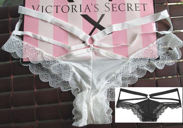 New Panties Cheeky XL Victoria Secret Strappy Gold Ring Black Stretch Satin Mesh