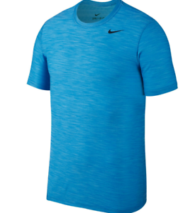 Men's Nike Breathe Tee Dri Fit Training t Shirt Polarized Blue Black  832864 484
