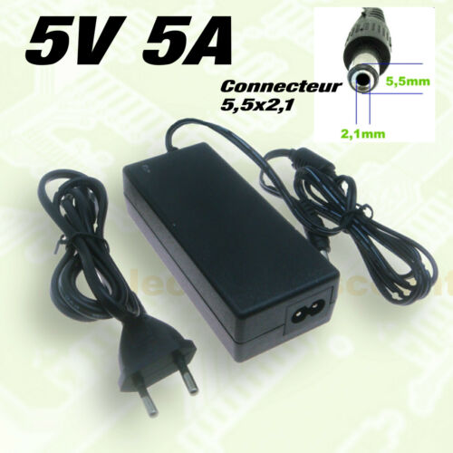 alimentation 5v 5A avec connecteur 5,5 x 2,1 mm en option adaptateur 5,5 x 2,5mm