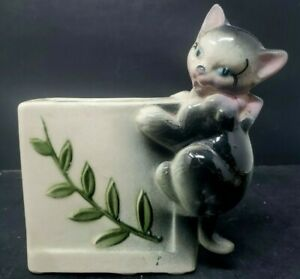 Vintage Kitten Planter Retro Ceramic Kitty Cat Pottery 1950s USA