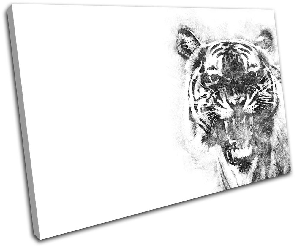 Tiger Abstract Scribble Animals SINGLE TOILE murale ART Photo Print