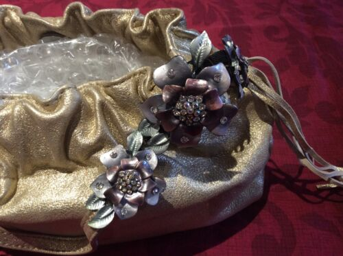 Metal Tags With Leather Work o New Flower Karen Bag Gold Millen W Genuine UxSwWqORY