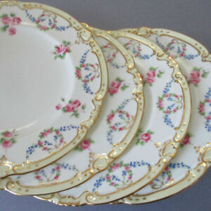 """4 Antique TIFFANY & Co MINTONS Porcelain 8"""" Plates SWAGS Wreaths ROSES + FMNs"""