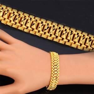 Herren-Armband-18K-vergoldet-Kette-Schmuck-19CM-lang