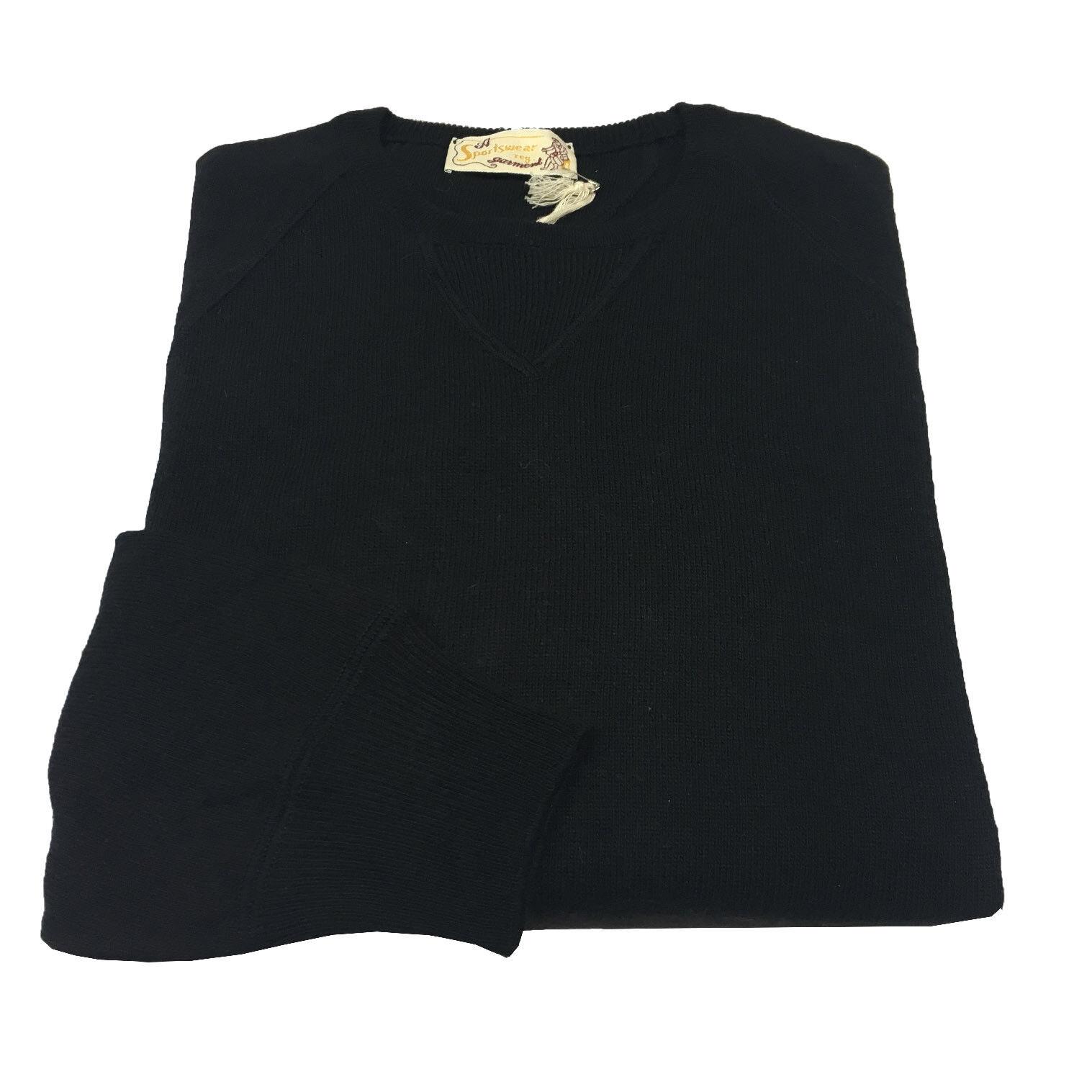 SPORTSWEAR Pullover Herren Rundhalsausschnitt schwarz Patches dunkelbraun 37%