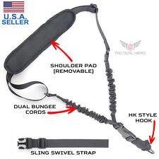 Tactical 1 Single One Point Bungee Gun Rifle Sling + QD+HK+Strap+Shoulder Pad