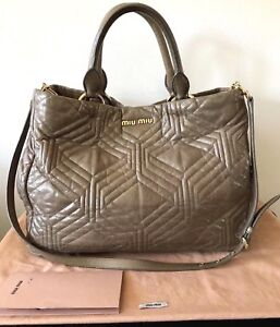 e37fdef2cca1 Image is loading AUTHENTIC-MIU-MIU-VITELLO-SHINE-QUILTED-LEATHER-SHOPPING-