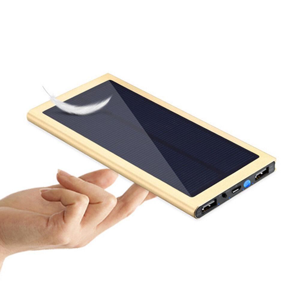 Waterproof 10000mAh Dual Ports USB Battery Charger Solar Power Bank Gold