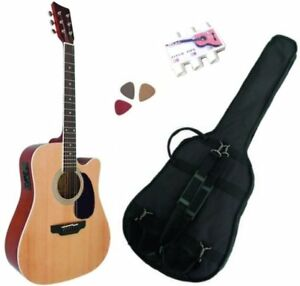 Acoustic Electric Guitars Guitars & Basses Modest Pack Guitare Electro-acoustique Nature 3 Accessoires Warm And Windproof
