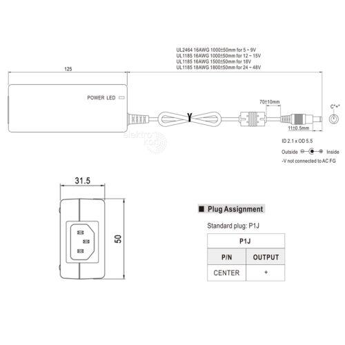 60Watt 5A Mean Well GST60A12-P1J Tisch-Netzteil 12Vdc IP41