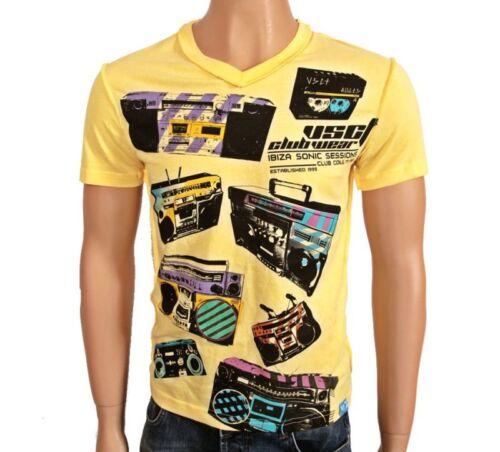 VSCT Clubwear Blaster V-Neck T-Shirt yellow Tape Shirt Kassette Ghettoblaster