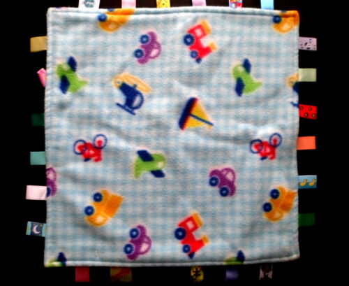 Taggies Blue Baby Blanket Lovey w//Cars /& Trains