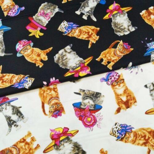 Glamour Puss Fashion Cats /& Hats 100/% Cotton Fabric