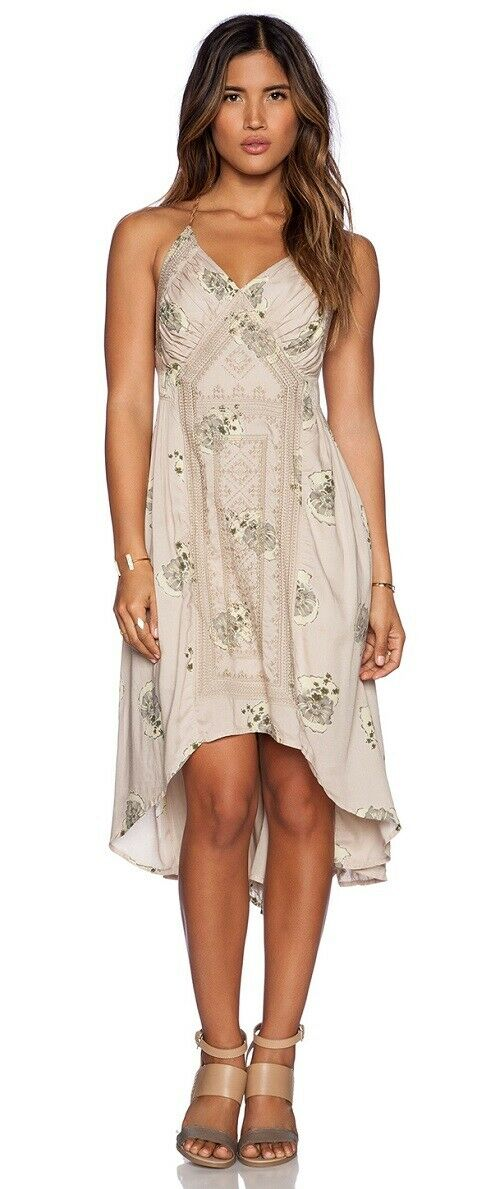 Free People Beige Floral Tea Dress, High Low Hem Beach Dress, UK XS - RRP 198