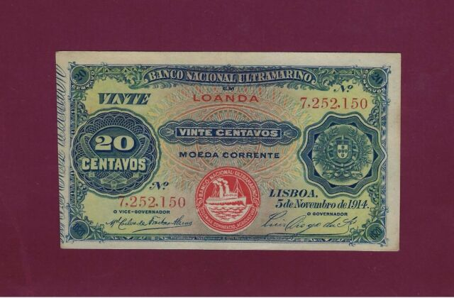 Portugal  Angola LOANDA 20 Centavos 1914 P-43 extremely fine