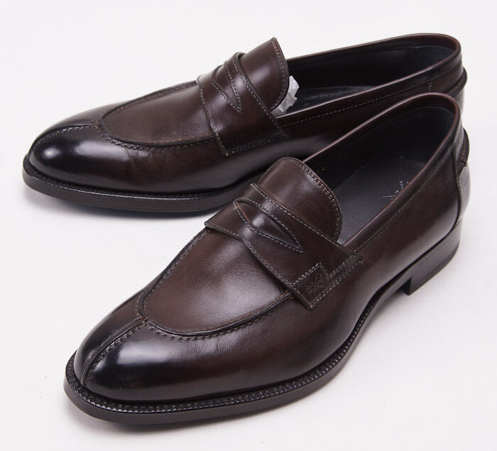 NIB  950 SUTOR MANTELLASSI Dark Brown Calf Leather Penny Loafers US 7 D shoes