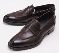 $950 Sutor Mantellassi Dark Brown Calf Leather Penny Loafers Us 7 D Shoes on sale